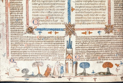 Image from object titled Cripple being led to a building from BL Royal 10 E IV, f. 220v