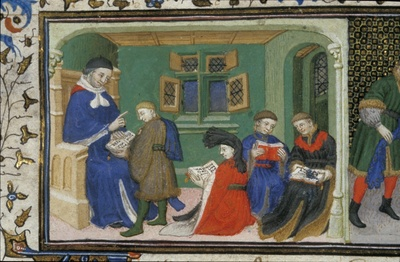 Image from object titled Aristotle and Alexander from BL Royal 20 B XX, f. 10v