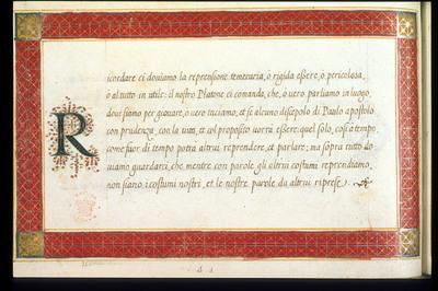 Calligraphic specimen from BL Royal 14 A I, f. 9v