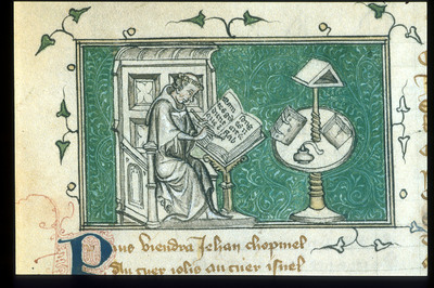 Image from object titled Jean de Meun writing in his study from BL YT 21, f. 69v
