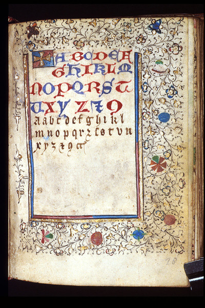 Image from object titled ABC from BL Harley 3828, f. 28