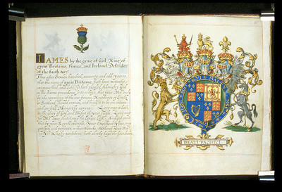 Arms and badge of James I from BL Harley 6085, ff. 24v-25