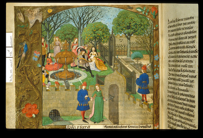 Image from object titled Garden of Pleasure from BL Harley 4425, f. 12v
