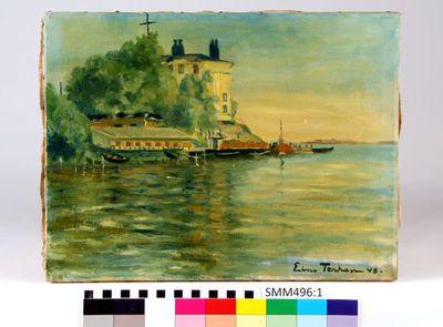 öljymaalaus; öljymaalaus Hylkysaaren luotsikasarmista ja venelaitureista