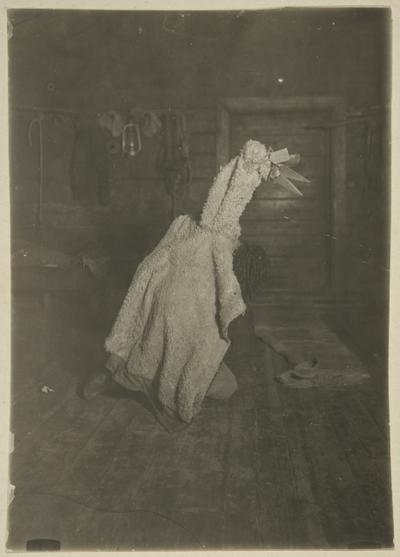 """Image from object titled """"Köyriätär kulki talosta taloon hupia ehtimässä""""; olento tässä Kurolanlahden Vatalassa"""