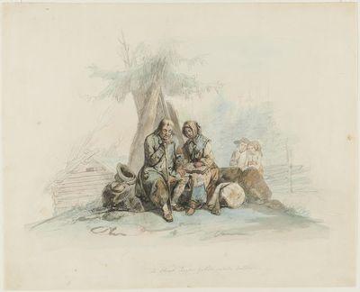 """Image from object titled sokea kerjäläinen ja tytär (""""En blind tiggargubbe jämte dotter"""")"""