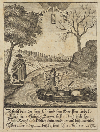 Kharon kuljettaa lautallaan paroni von Görtziä kohti Haadeksessa olevaa Johan Reinhold von Patkulia