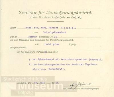Image from object titled Bescheinigung