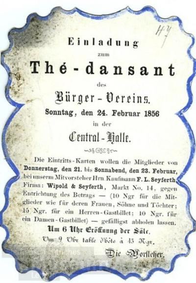 Image from object titled Einladung zum Thé-dansant des Bürger-Vereins; Einladung