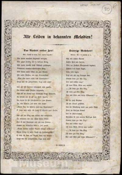 Alte Leiden in bekannten Melodien!; Liedtext