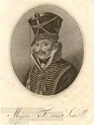 Major F. von Schill; Radierung