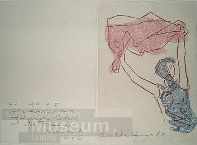 Junge Frau mit Tuch; Glückwunschkarte