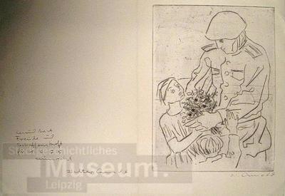 Soldat mit zwei Kindern; Glückwunschkarte