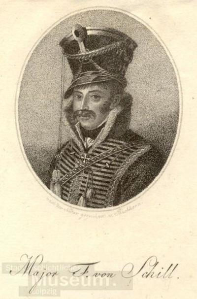 Bildnis Major Ferdinand von Schill; Radierung