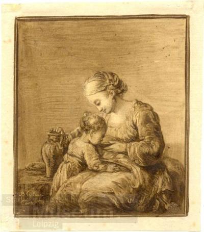 Mutter und Kind; Zeichnung