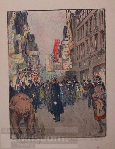 Image from object titled Messetrubel in der Petersstraße; Lithographie