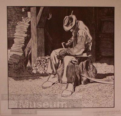 Alter Mann bei der Arbeit vor einem Schuppen sitzend; Holzschnitt