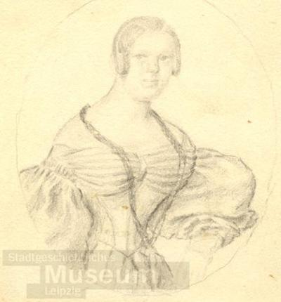 Brustbild Einer Dame Mit Affenschaukel Frisur Zeichnung Jahrmargt