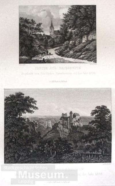Partie aus Briessnitz (oben); Schloß Hohenstein (unten); Kunstvereinsblatt für 1832; Grafik