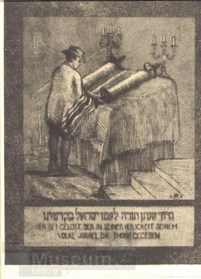 Jude beim Lesen der Thora; Radierung