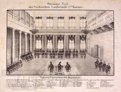 e8dfda65556 Sitzungs Saal der Sächsischen Landstände 1ter Kammer  Lithographie ...