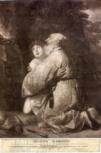 Abrahams Dankopfer; Kupferstich