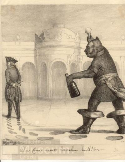 Image from object titled Wie einer immer daneben tritt!; Lithographie; Karikatur