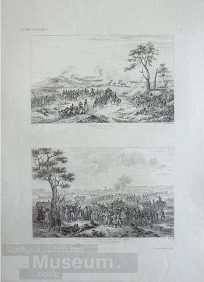 Bataille de Castiglione (oben); La Garnision de Mantoue met bas les armees devant le General Serrurier (unten); Gallerie Historique de Versailles, Bl. 682; Stahlstich
