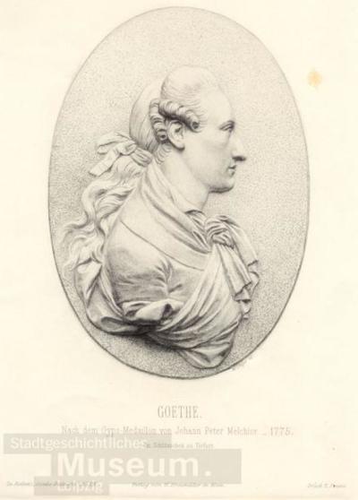 Goethe. Nach dem Gyps-Medaillon von Johann Peter Melchior; Radierung