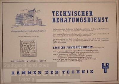 Technischer Beratungsdienst im Hochhaus am Karl-Marx-Platz; Kammer derTechnik; Plakat