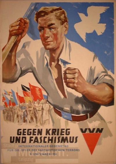 Gegen Krieg und Faschismus VVN Internationaler Gedenktag für die Opfer des faschistischen Terrors 9. September 1951; Plakat
