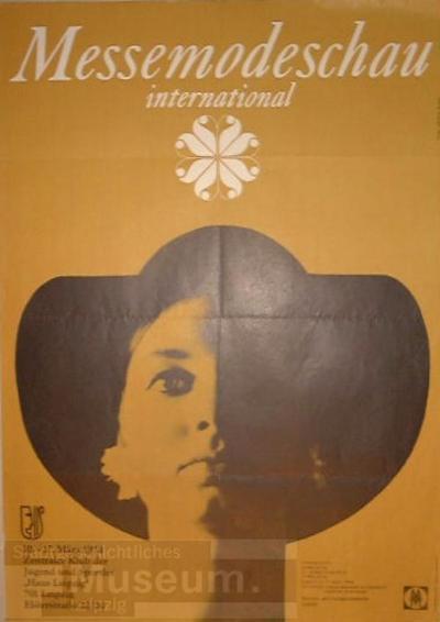 Messemodenschau international 10.-17.03.1974 Zentraler Klub der Jugend und Sportler; Veranstaltungsplakat