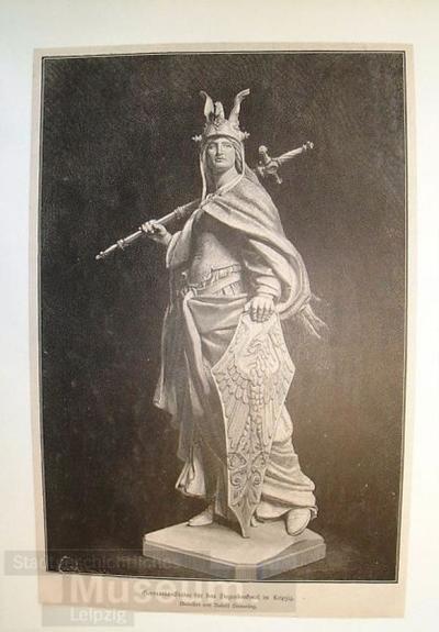 Germania-Statue für das Siegesdenkmal in Leipzig. Modelliert von Rudolf Siemering.; Holzschnitt