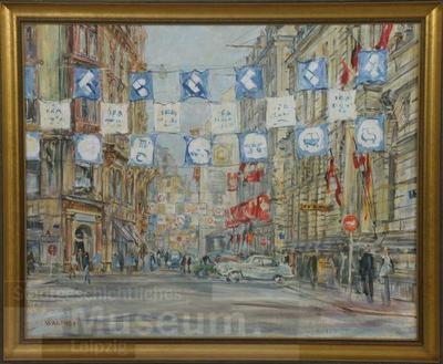 Image from object titled Petersstraße zur Messe; Gemälde