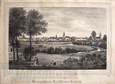Image from object titled Nordwestliche Ansicht von Leipzig; Lithografie