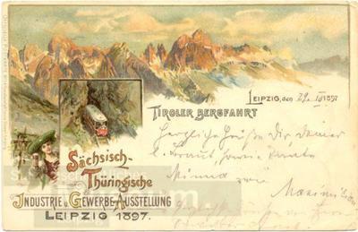 Image from object titled Tiroler Bergfahrt. Sächsisch-Thüringische Industrie u. Gewerbe Ausstellung Leipzig 1897.; Postkarte