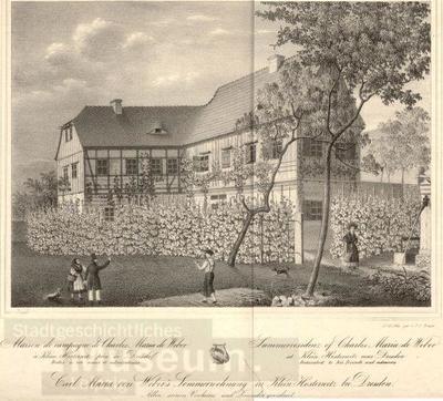 41d381cfd83 Carl Maria von Weber`s Sommerwohnung in Klein Hosternitz bei Dresden   Lithographie