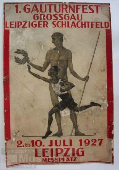 Plakat 1. Gauturnfest Grossgau Leipziger Schlachtfeld; Schrift- und Bildplakat
