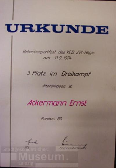 Betriebssportfest des VEB ZW-Regis; Urkunde