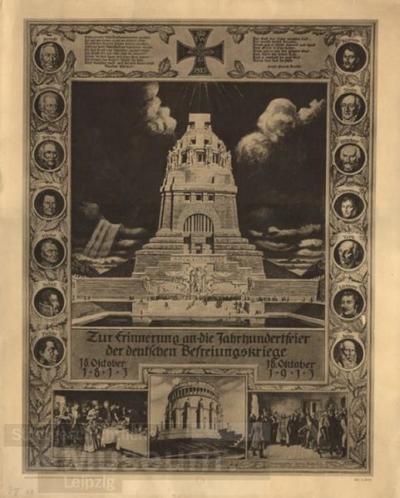 Erinnerungsblatt an die Jahrhundertfeier der Befreiungskriege; Druck