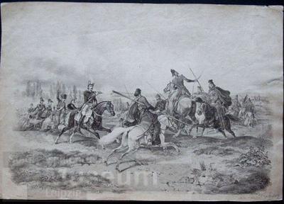 Gefecht französicher und russische Reiter; Lithographie