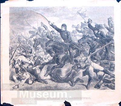 Herzog Wilhelm von Braunschweig in der Schlacht bei Oelpers; Xylographie