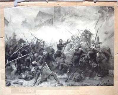 Erstürmung des Grimmaschen Tores durch die Königsberger Landwehr; Lithographie