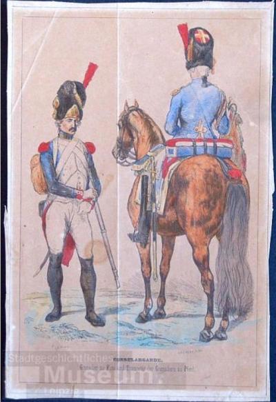 Consulargarde. Grenddier zu Fuss und Trompeter der Grenadier zu Pferd; Holzschnitt