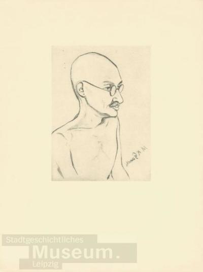 Mahatma Gandhi; Radierung