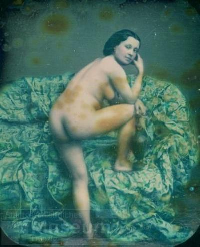 Rückenakt auf verhülltem Kanapee; Daguerreotypie