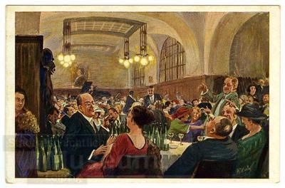 11. Nach getaner Arbeit im Auerbachs Keller; Postkarte