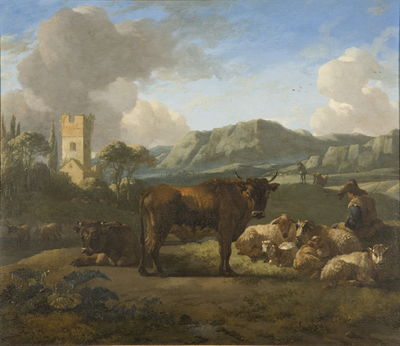 Cattle and Herdsmen in a Hilly Landscape