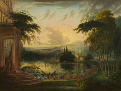 A Romantic Landscape with the Arrival of the Queen of Sheba