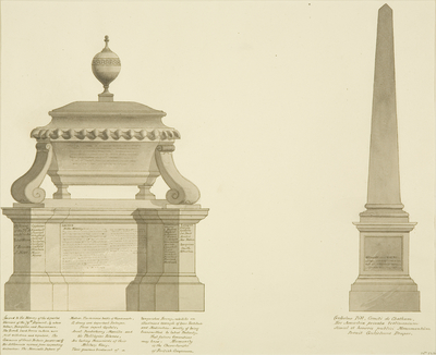 Cenotaph and an obelisk, in front of the House of Sir William Draper, Manilla Hall, Clifton